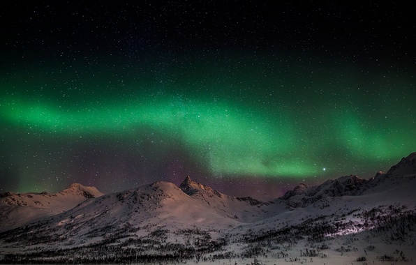 Picture winter, the sky, snow, mountains, nature, Northern lights