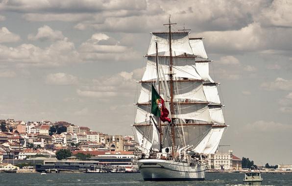 Picture river, sailboat, Portugal, Lisbon, Portugal, Lisbon, the Tagus river, bark, NRP Sagres III, Tagus River, …