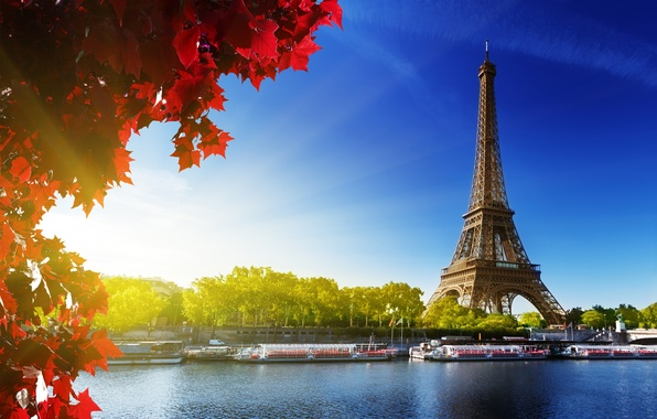 Picture autumn, the sky, leaves, the sun, trees, river, France, Paris, Hay, red, Eiffel tower, Paris, …