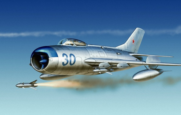 Picture war, art, painting, aviation, russian fighter, russian jet, air combat, Mig 17