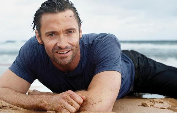 Picture sand, sea, beach, summer, look, the sun, smile, stay, actor, male, guy, Hugh Jackman, hugh …