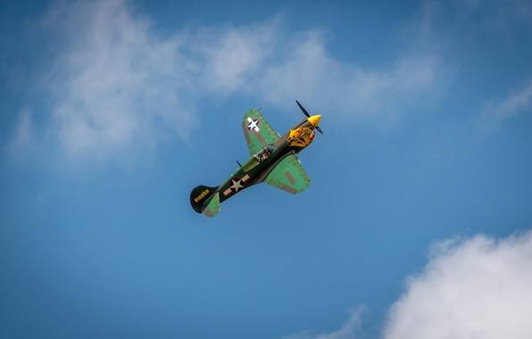 Picture the sky, clouds, flight, retro, the plane, fighter, parade