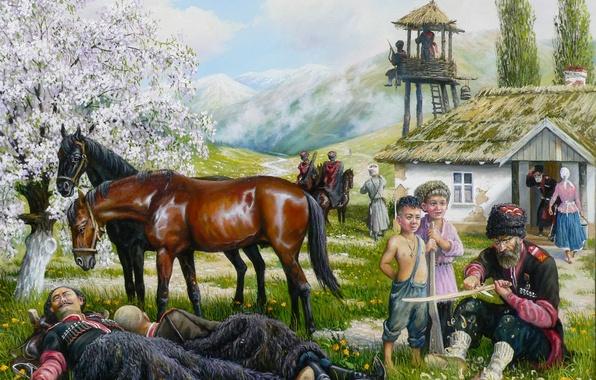 Picture children, spring, art, Cossacks, Andrey Lyakh, the village