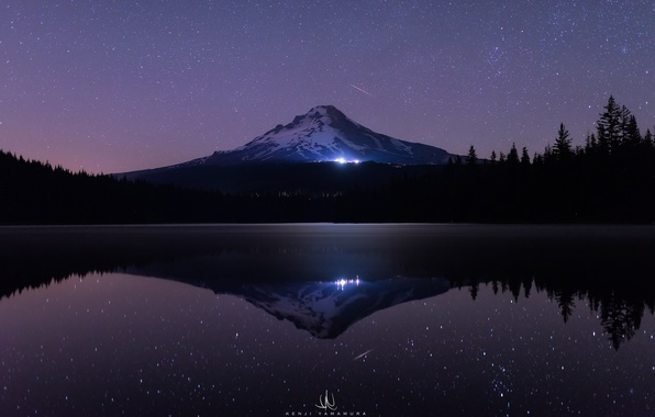 Picture sea, forest, water, stars, light, snow, trees, night, lake, darkness, reflection, lights, mountain, ate, USA, ...