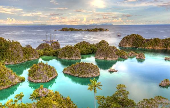 Picture sea, Islands, tropics, palm trees, ships, yachts, horizon, Indonesia