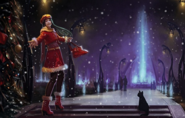 Picture winter, cat, girl, snow, night, ray, art, lights, tree, alley, fun