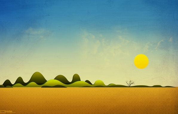 Picture the sky, the sun, landscape, tree, hills, collage, desert, art, Simple Things, freakyframes