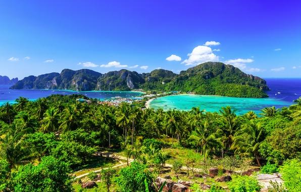 Picture sea, beach, the sky, the sun, Islands, clouds, trees, tropics, palm trees, rocks, horizon, Thailand, …