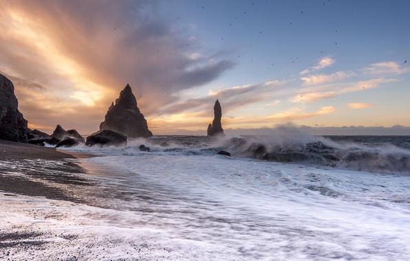 Picture wave, sunset, storm, the ocean, rocks, coast, Iceland, Iceland, The Atlantic ocean, Atlantic Ocean, Vik, …