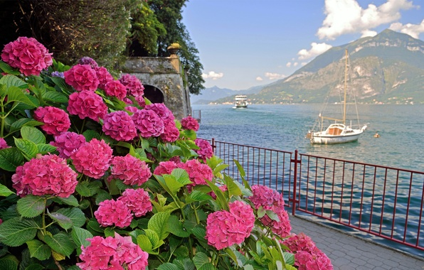 Picture sea, the sky, flowers, ship, mountain, yacht, Italy, Bay, promenade