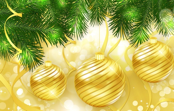 Picture tree, new year, Christmas, branch, ball, decoration