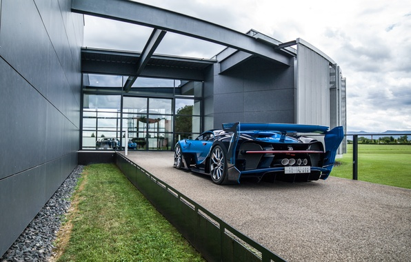 Picture car, grass, Bugatti, Vision, car, crushed stone, back, hypercar, Gran Turismo, exhausts, gress