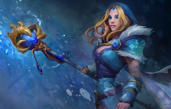 Picture cold, ice, chest, look, girl, blue, sweetheart, calm, hero, blonde, staff, Art, waist, DotA, Crystal ...