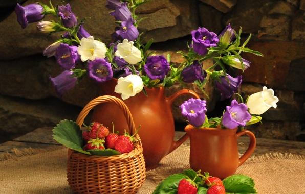 Picture flower, summer, flowers, nature, basket, bouquet, strawberry, berry, pitcher, still life, bells, basket