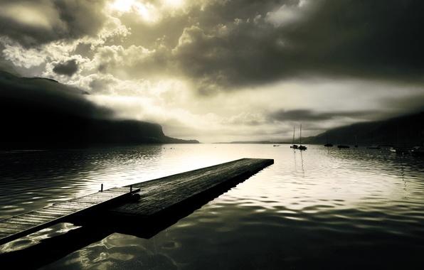 Picture fog, lake, surface, hills, Board, Marina, sailboat, ships, yachts, pier, pierce