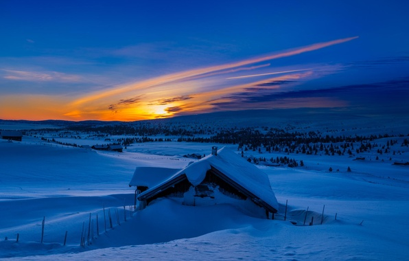 Picture winter, the sun, snow, mountains, nature, blue, sunrise, morning, house