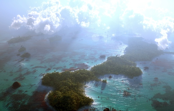 Picture sea, the sun, Islands, clouds, nature, the ocean, art, the view from the top, reef, …
