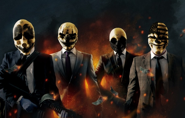 Picture money, the bandits, dollars, the robbers, Payday: The Heist
