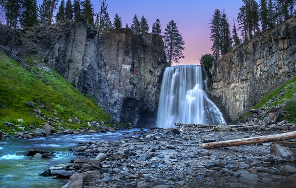 Picture forest, trees, landscape, sunset, nature, river, stones, waterfall, stream, Rocks