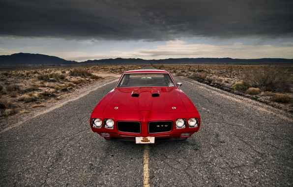 Picture road, the storm, clouds, hills, lights, front, Pontiac, GTO, 1970 GTO