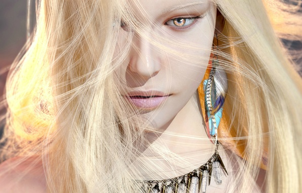 Picture look, girl, decoration, rendering, earrings, blonde