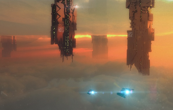 Picture clouds, flight, metal, ships, art, facilities, tower, in the sky