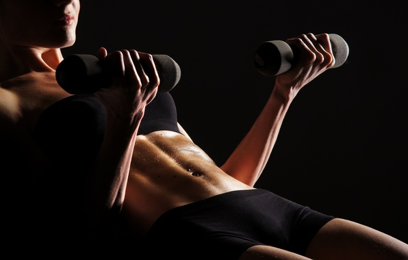 Picture woman, pose, fitness, dumbbells, perspiration