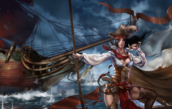 Picture sea, girl, weapons, the wind, ship, sailboat, art, pirates