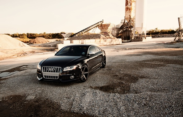 Picture Audi, Audi, black, black, concrete blocks, conveyor belt
