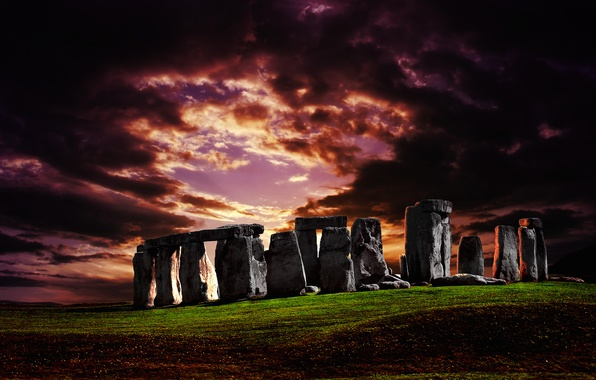 Picture the sky, grass, landscape, sunset, stones, hill, architecture, Stonehenge