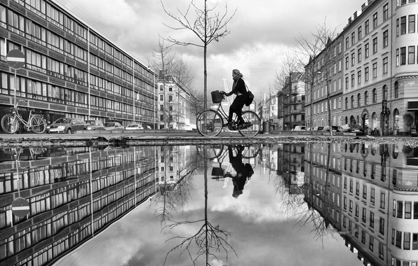 Picture bike, reflection, tree, sign, street, woman, building, mirror, puddles, cars, life, rainy