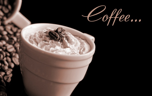 Picture foam, coffee, Cup, cream, cup, grain, Coffee, coffee, cream, foam, coffee beans, beans