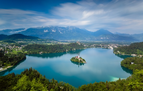 Picture mountains, lake, island, Church, panorama, Slovenia, Lake Bled, Slovenia, Lake bled, Pokljuka, Pokljuka, St. Mary's …