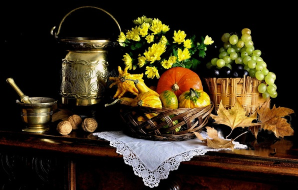 Picture leaves, grapes, pumpkin, fruit, nuts, still life, basket, cans