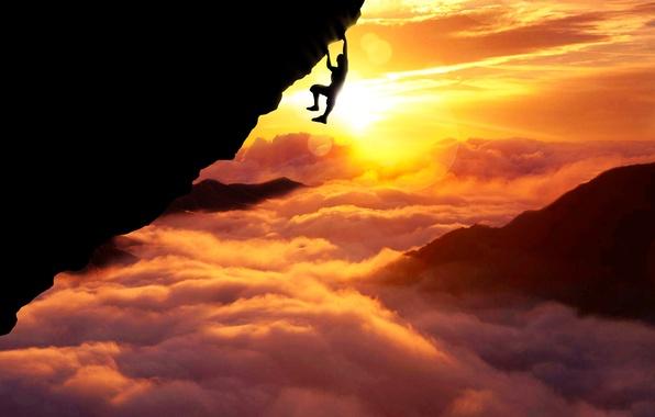Picture Clouds, Sky, Sun, Sport, Silhouette, Above, Fatal, Climb