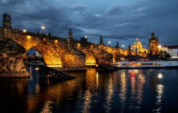 Picture night, bridge, the city, lights, river, Prague