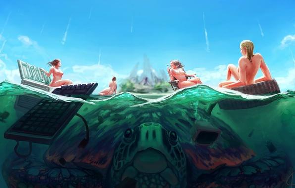 Picture sea, girls, island, turtle, chair, art, refrigerator, keyboard, giant