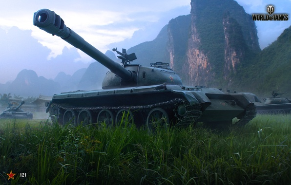 Picture The sky, Clouds, Mountains, Grass, Building, China, Tanks, WoT, World of Tanks, World Of Tanks, …