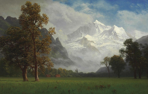 Photo wallpaper picture, mountains, Virgin, nature, Albert Bierstadt, trees, landscape