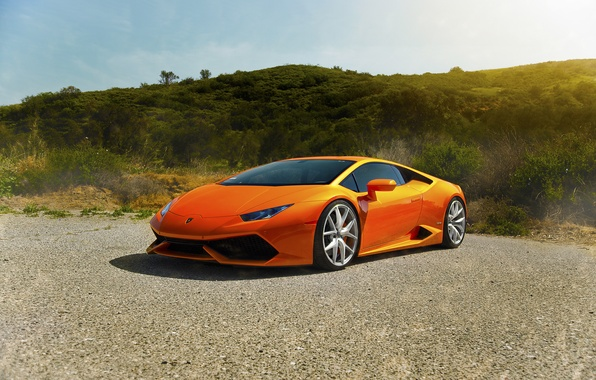 Picture Lamborghini, Orange, Front, Sun, Diamond, Supercars, Edition, Exotic, Huracan, LP640-4