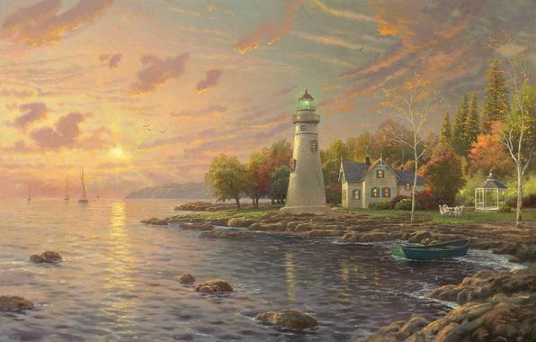 Picture autumn, sunset, lake, house, boat, lighthouse, the evening, sail, calm, painting, gazebo, Thomas Kinkade, painting, …