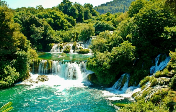 Picture greens, trees, waterfall, Sunny, Croatia, Croatia, Krka National Park