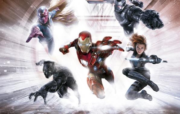 Picture fiction, Scarlett Johansson, art, Scarlett Johansson, Vision, Iron Man, comic, superheroes, Black Widow, MARVEL, concept ...