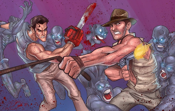 Picture zombies, ash, crossover, Harrison Ford, Indiana Jones, Bruce Campbell, Ash Williams, evil dead, James Williams