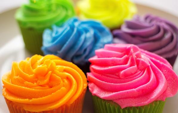 Picture colorful, cake, cream, dessert, cakes, sweet, cupcake, cupcake, cream