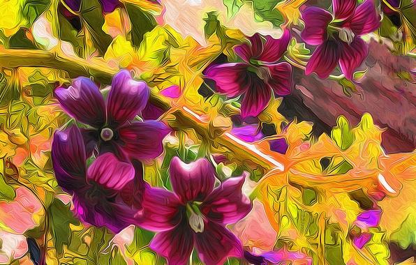 Picture rendering, figure, plant, vector, petals, meadow, flowerbed