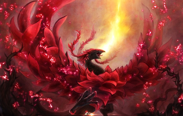 Wallpaper girl, fire, magic, dragon, anime, art, Yu-Gi-Oh ...