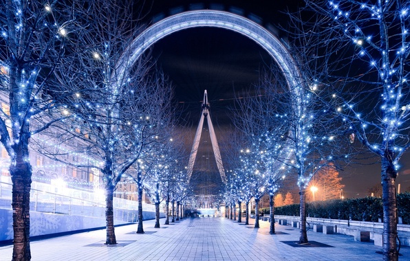 Picture trees, night, England, London, the evening, lighting, track, UK, Ferris wheel, garland, London, The London …