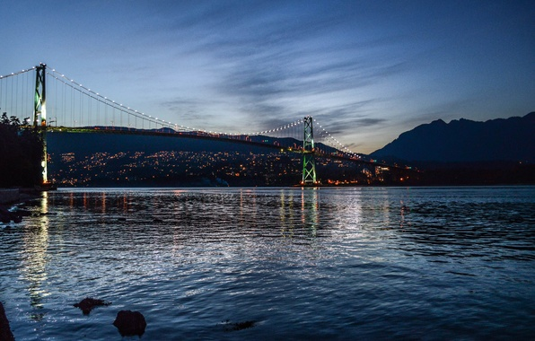Picture sea, bridge, the evening, San Francisco, Golden gate, USA