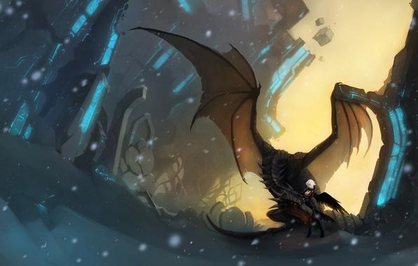 Picture girl, snow, stones, magic, dragon, figure, wings, art, ruins
